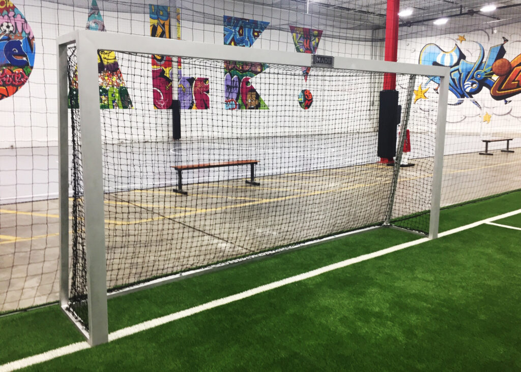 Custom furniture: custom soccer goals made by MADE for Futsol Club STL