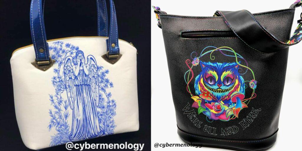 hand sewn handbags made by Larua Helton, Cybermenology