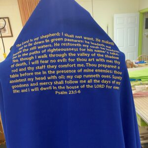 A prayer shawl that Kacie embroidered on MADE's CNC embroidery machine.